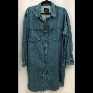 Rails Denim Button Up Small Shirt Dress Frayed Hem